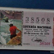 Lotería Nacional: DECIMO DE LOTERIA DE 1970 SORTEO 9. Lote 56918800