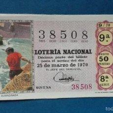 Lotería Nacional: DECIMO DE LOTERIA DE 1970 SORTEO 9. Lote 56947896
