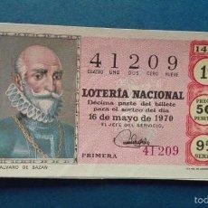 Lotería Nacional: DECIMO DE LOTERIA DE 1970 SORTEO 14. Lote 56948125