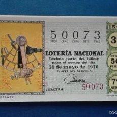 Lotería Nacional: DECIMO DE LOTERIA DE 1970 SORTEO 15. Lote 56948517