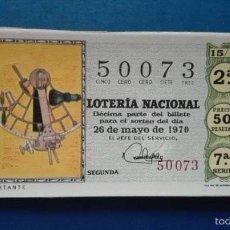 Lotería Nacional: DECIMO DE LOTERIA DE 1970 SORTEO 15. Lote 56948535