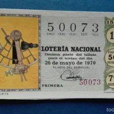 Lotería Nacional: DECIMO DE LOTERIA DE 1970 SORTEO 15. Lote 56963654