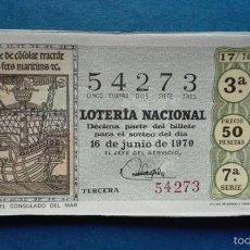 Lotería Nacional: DECIMO DE LOTERIA DE 1970 SORTEO 17. Lote 56963841