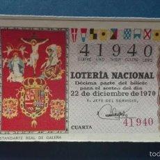 Lotería Nacional: DECIMO DE LOTERIA DE 1970 SORTEO 36. Lote 56976325