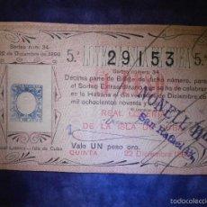Lotería Nacional: REAL LOTERIA NACIONAL DE CUBA ESPAÑOLA - AÑO 1896 -SORTEO DE NAVIDAD - Nº 34 - 22 DE DICIEMBRE. Lote 57347130