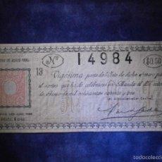 Lotería Nacional: REAL LOTERIA NACIONAL DE FILIPINAS ESPAÑOLAS - AÑO 1893 -SORTEO DEL 14 DE JUNIO - 14984. Lote 57348695