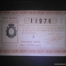 Lotería Nacional: LOTERIA NACIONAL DE ESPAÑA - SORTEO Nº 35 DE 1927 - 12 DE DICIEMBRE - 1ª FRACCIÓN 2ª SERIE - 11976. Lote 57354002