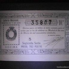 Lotería Nacional: LOTERIA NACIONAL DE ESPAÑA - SORTEO Nº 7 DE 1928 - 1 DE MARZO - 10ª FRACCIÓN 2ª SERIE - 35807. Lote 57354010