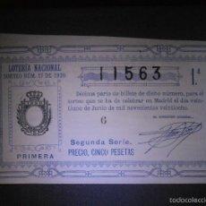 Lotería Nacional: LOTERIA NACIONAL DE ESPAÑA - SORTEO Nº 17 DE 1928 - 21 DE JUNIO - 1ª FRACCIÓN 2ª SERIE - 11563. Lote 57354013