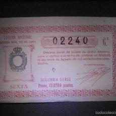 Lotería Nacional: LOTERIA NACIONAL DE ESPAÑA - SORTEO Nº 22 DE 1928 - 11 DE AGOSTO - 6ª FRACCIÓN 2ª SERIE - 02240. Lote 57354014