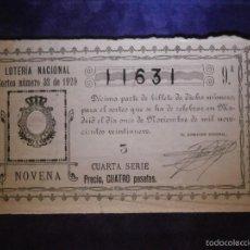 Lotería Nacional: LOTERIA NACIONAL DE ESPAÑA - SORTEO Nº 32 DE 1929 - 11 DE NOVIEMBRE - 9ª FRACCIÓN 4ª SERIE - 11631. Lote 57366885