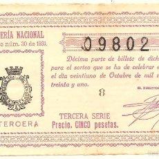 Lotería Nacional: DÉCIMO TERCERA SERIE 5 PESETAS - SORTEO Nº 30 DE 21 OCTUBRE 1931 - Nº 09802 - ADMÓN. ONTENIENTE. Lote 57374983
