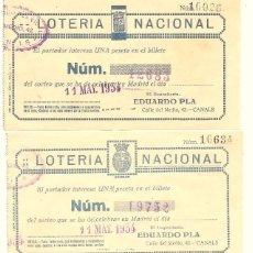 Lotería Nacional: CANALS (VALENCIA) - LOTE 3 PARTICIPACIONES DE LOTERIA NACIONAL - 11 MAYO 1934 - DEPOS. EDUARDO PLA. Lote 57375002