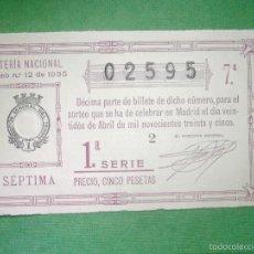 Loterie Nationale: LOTERIA NACIONAL DE ESPAÑA - SORTEO Nº 12 DE 1935 - 22 DE ABRIL - 7ª FRACCIÓN 1ª SERIE - 02595. Lote 57633870