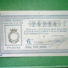 Loterie Nationale: LOTERIA NACIONAL DE ESPAÑA - SORTEO Nº 31 DE 1935 - 1 DE NOVIEMBRE - 1ª FRACCIÓN 6ª SERIE - 26234. Lote 57633878