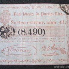 Lotería Nacional: AÑO 1859. LOTERÍA DE PUERTO RICO. 19 DE NOVIEMBRE.. Lote 57644293