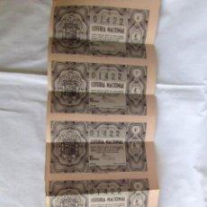 Lotería Nacional: 5 BILLETES DE LOTERÍA 16 DE AGOSTO DE 1950. Lote 57679057