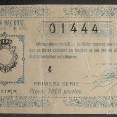 Lotería Nacional: (5904) DECIMO DE LOTERIA, SORTEO 7 DE 1925,CONSERVACION B,VER FOTOS. Lote 57692854