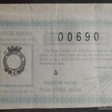 Lotería Nacional: (5913) DECIMO DE LOTERIA, SORTEO 1 DE 1932,CONSERVACION MB-,VER FOTOS. Lote 57693255