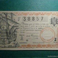 Lotería Nacional: LOTERIA NACIONAL DE ESPAÑA - SORTEO Nº 10 DE 1941 - 2 DE ABRIL - 9ª FRACCIÓN 3ª SERIE - 38857. Lote 57795347