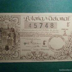 Lotería Nacional: LOTERIA NACIONAL DE ESPAÑA - SORTEO Nº 27 DE 1943 - 22 DE SEPTIEMBRE - 45748. Lote 57796328