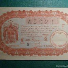 Lotería Nacional: LOTERIA NACIONAL DE ESPAÑA - SORTEO Nº 17 DE 1942 - 12 DE JUNIO - 40021. Lote 57798201