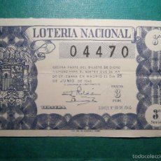 Lotería Nacional: LOTERIA NACIONAL DE ESPAÑA - SORTEO Nº 18 DE 1946 - 25 DE JUNIO - 04470. Lote 57803853