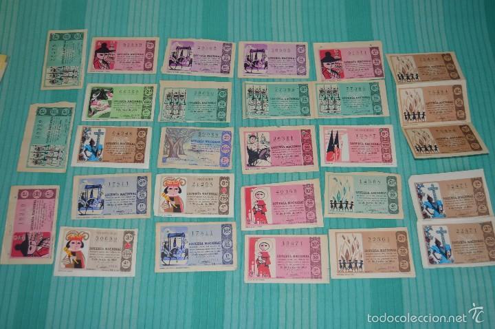 LOTE DE BILLETES DE LOTERÍA NACIONAL - AÑOS 60 - NÚMEROS Y AÑOS MUY VARIADOS - MUY ANTIGUO (Coleccionismo - Lotería Nacional)