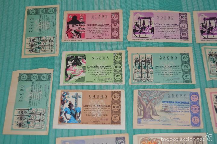 Lotería Nacional: Lote de billetes de lotería nacional - años 60 - Números y años muy variados - Muy antiguo - Foto 2 - 57971237