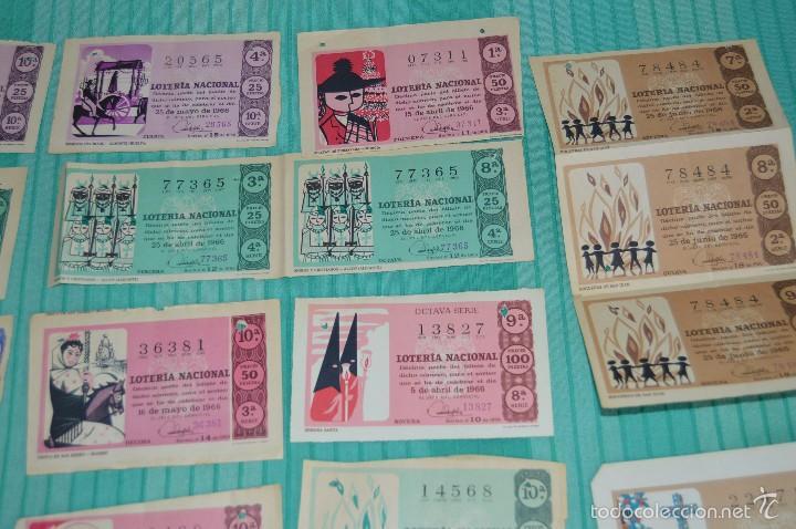 Lotería Nacional: Lote de billetes de lotería nacional - años 60 - Números y años muy variados - Muy antiguo - Foto 3 - 57971237