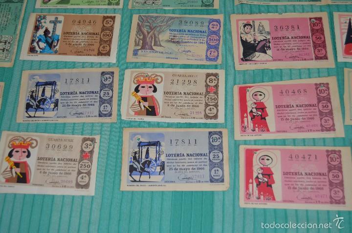 Lotería Nacional: Lote de billetes de lotería nacional - años 60 - Números y años muy variados - Muy antiguo - Foto 5 - 57971237