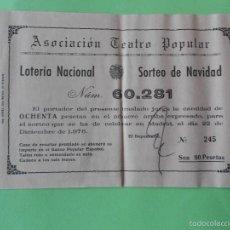 Lotería Nacional: PARTICIPACION LOTERIA NACIONAL NAVIDAD 1976, ASOCIACION TEATRO POPULAR, GRANADA. Lote 57995390