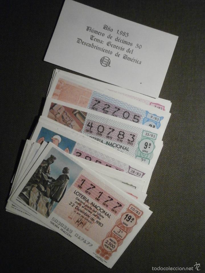 LOTERÍA NACIONAL DE ESPAÑA - COLECCIÓN - 50 DÉCIMOS - AÑO 1983 COMPLETO - DESCUBRIMIENTO AMÉRICA - (Coleccionismo - Lotería Nacional)