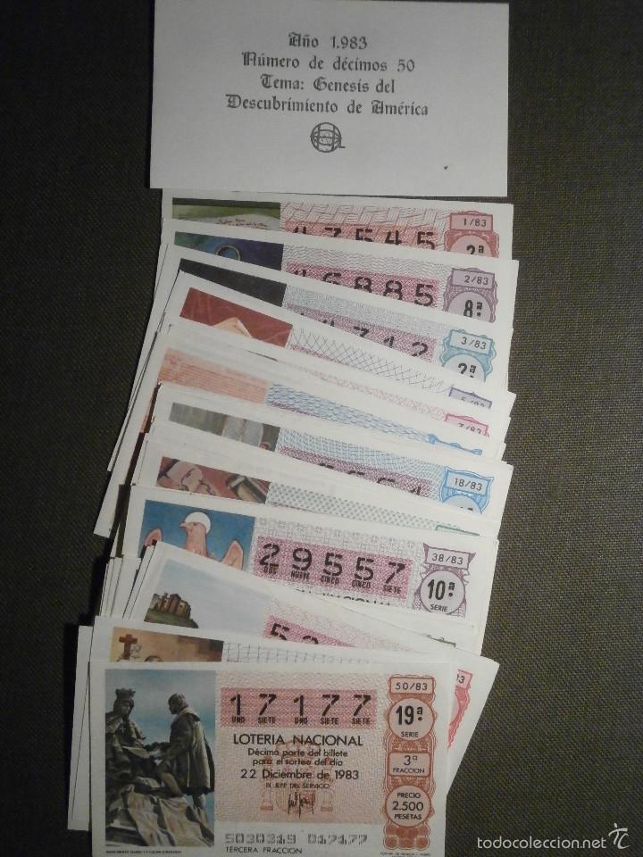 Lotería Nacional: Lotería Nacional de España - Colección - 50 Décimos - Año 1983 completo - Descubrimiento América - - Foto 2 - 58286374