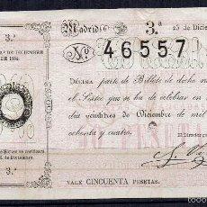 Lotería Nacional: LOTERÍA NACIONAL SORTEO 23 DICIEMBRE DE 1884 NAVIDAD. Lote 58556332