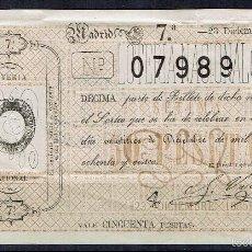 Lotería Nacional: LOTERÍA NACIONAL SORTEO 23 DICIEMBRE DE 1885 NAVIDAD. Lote 58556340