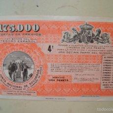 Lotería Nacional: JUNTA NACIONAL DE SOCORRO 1928 BENEFICO. Lote 60253595
