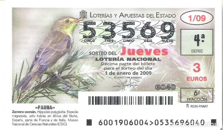 1 DECIMO LOTERIA NACIONAL JUEVES - 1 ENERO 2009 - 1/09 - FAUNA - AVES - ZARCERO COMUN (Coleccionismo - Lotería Nacional)