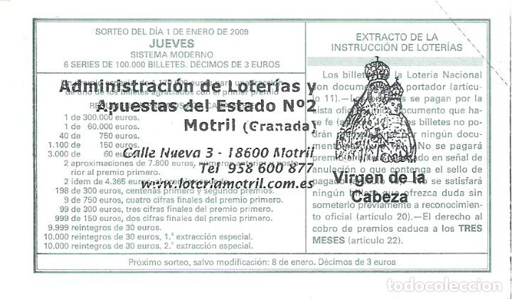 Lotería Nacional: 1 DECIMO LOTERIA NACIONAL JUEVES - 1 ENERO 2009 - 1/09 - FAUNA - AVES - ZARCERO COMUN - Foto 2 - 61940728