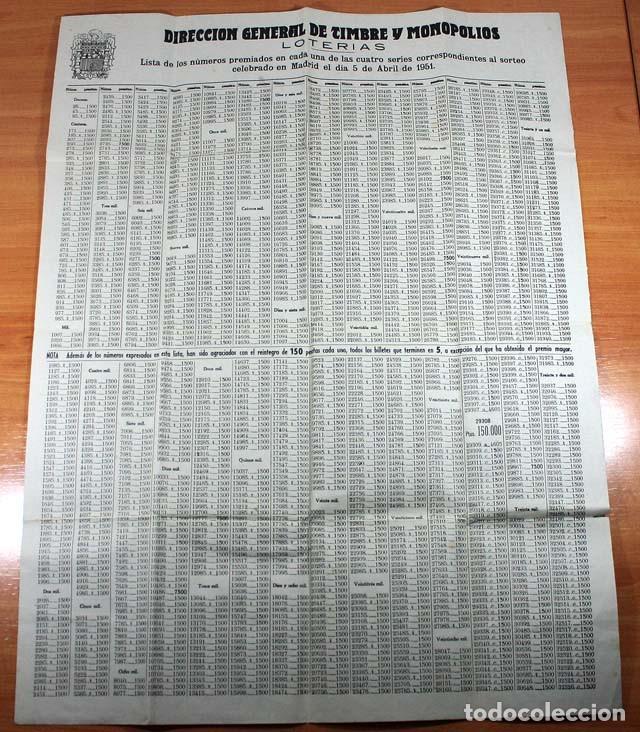 LISTA LOTERIA SORTEO 5 ABRIL 1951 FORMATO CARTEL 66 X 51 CM, LISTADO LOTERIAS (Coleccionismo - Lotería Nacional)