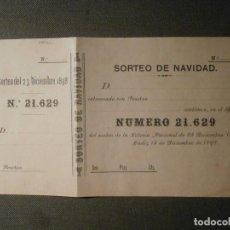 Lotería Nacional: LOTERIA NACIONAL - ESPAÑA - PARTICIPACION - AÑO 1898 - SORTEO NAVIDAD - CADIZ - 21629 -. Lote 62098672