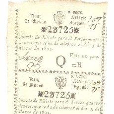 Lotería Nacional: RARISIMA HOJA CON 4 DECIMOS DE LOTERIA DEL 5 DE MARZO DE 1802 REAL LOTERIA DE NUEVA ESPAÑA. Lote 62168884