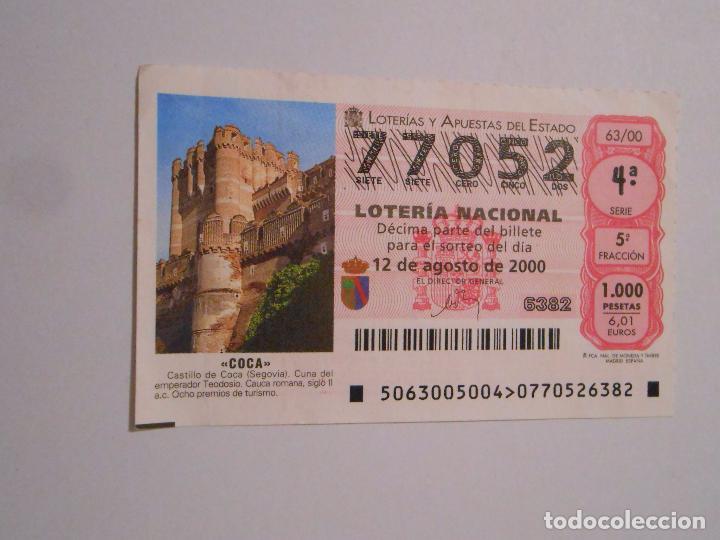 DECIMO LOTERIA DEL SABADO - 12 AGOSTO 2000 - 63/00 - CASTILLO DE COCA ( SEGOVIA ). TDKP7 (Coleccionismo - Lotería Nacional)