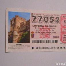 Lotería Nacional: DECIMO LOTERIA DEL SABADO - 12 AGOSTO 2000 - 63/00 - CASTILLO DE COCA ( SEGOVIA ). TDKP7. Lote 62265352
