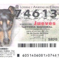 Loterie Nationale: 1 DECIMO LOTERIA NACIONAL JUEVES 24 JUNIO 2004 51/04 RAZAS CANINAS PERROS RATONERO BODEGUERO ANDALUZ. Lote 62528662