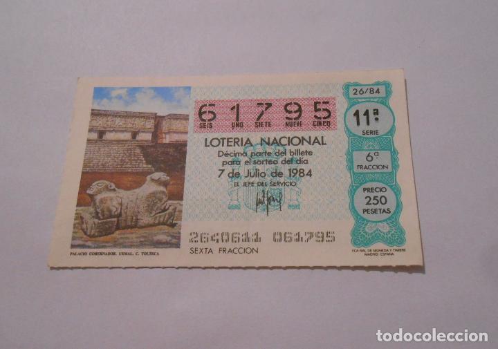 DECIMO LOTERIA NACIONAL 7 DE JULIO DE 1984. PORTADA PALACIO GOBERNADOR XMAL. C. TOLTECA. TDKP8 (Coleccionismo - Lotería Nacional)