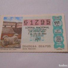 Lotería Nacional: DECIMO LOTERIA NACIONAL 7 DE JULIO DE 1984. PORTADA PALACIO GOBERNADOR XMAL. C. TOLTECA. TDKP8. Lote 62657140