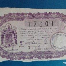 Lotería Nacional: DECIMO DE LOTERIA DE 1942 SORTEO 17. Lote 62679380