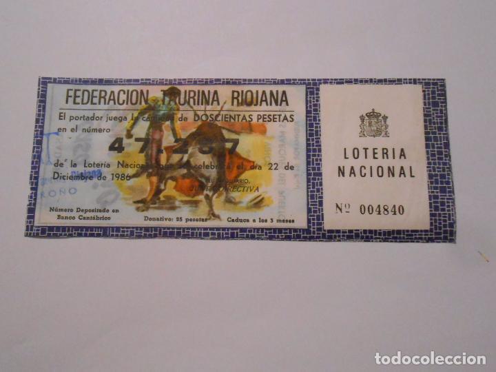 PARTICIPACION LOTERIA NACIONAL DE NAVIDAD. FEDERACION TAURINA DE LA RIOJA. 1986. CASA EMILIO. TDKP8 (Coleccionismo - Lotería Nacional)