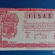 Lotería Nacional: DECIMO DE LOTERIA DE 1945 SORTEO 17 . Lote 62866444